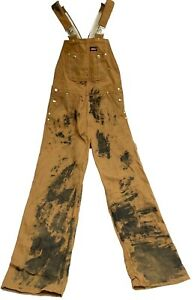 """Dickies Canvas DISTRESSED Work Overalls Bib Men's Small S 28"""" Chest 30"""" Inseam"""