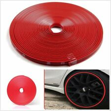 Car Wheel Hub Rim Edge Protector Ring Tire Guard Sticker Line Rubber Strip Red