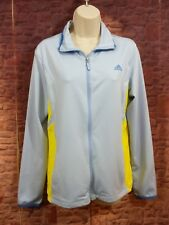 Adidas Women Large Vented Athletic Jacket ATS Cool Dry Blue Yellow Full Zip