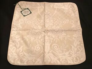 Rare! VTG Laura Ashley Beige Cotton w Floral Lace Boudoir Pillow Sham Made in UK
