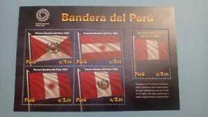 PERU: 2021  Souvenir Sheet Stamps Old National Flags