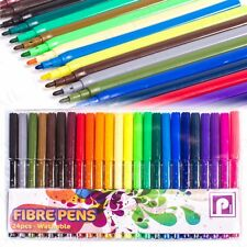 LARGE PACK Bright Fine Felt Tip WASHABLE Colouring Fibre Tipped Kids Marker Pens