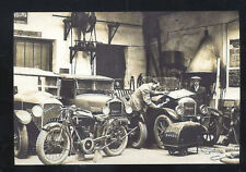 REAL PHOTO OLD CARS MOTORCYCLE FRANCE PUGEOT GARAGE MECHANIC POSTCARD COPY