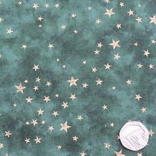 Mottled Green with Gold Stars Christmas Patchwork Fabric, 100% Cotton