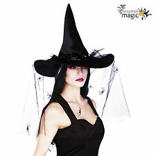 Ladies Deluxe Black Witch Witches Costume Hat with Feathers and Long Spider Veil