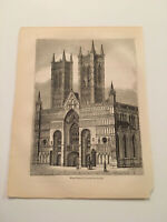 K76) West Front of Lincoln Cathedral England Gothic Architecture 1845 Engraving