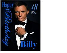 "Daniel Craig James Bond Personalised A4 Icing Sheet 10""x8"" Cake Topper"
