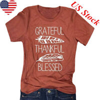 Thankful Grateful Blessed Feather Print T-Shirt Thanksgiving Women Tee Top#f #mi