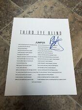 BRAD HARGREAVES THIRD EYE BLIND JUMPER SIGNED AUTOGRAPHED LYRIC SHEET PROOF
