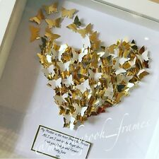 Personalised Handmade Gift Box Frame Heart Butterfly Any Quote Mum Man Home