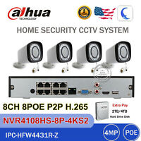 Dahua 4K 8CH NVR Kit 4MP IP Motorized IR 80M Bullet POE Camera 2/4TB CCTV System