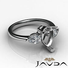 Pear Semi Mount Brilliant 3 Stone Diamond Engagement Ring 18k White Gold 0.5Ct