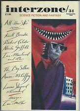 Interzone 34 March/April 1990 Science Fiction & Fantasy Magazine Good Condition