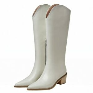 Women Pointy Toe Mid Calf Knee High Boots Leather Cowboy Low Heel Shoes 34-43 L