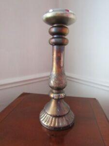 Large Pillar CANDLE HOLDER - Metallic Gold Finish Chunky Candle Holder 38cm