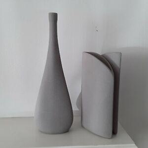 2 Stoneware Art Vases Pair Grey Italy Decorative table Modern flower Handmade