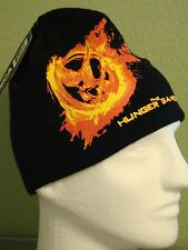 The Hunger Games Black Beanie Mockingjay Fire Flames Black Young Teen Hat NWT