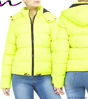 NEW NEON GREEN FLURO WOMEN LADIES QUILTED WINTER COAT PUFFER HOODED JACKET PARKA