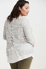 NWT Torrid Women's Plus Size 5X Lace Up Back Twofer Sweater (Q20)