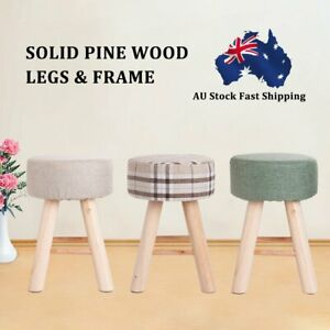 Fabric Foot Stool Wooden Kids Footstool Rest Padded Seat Stool Bedroom Dining