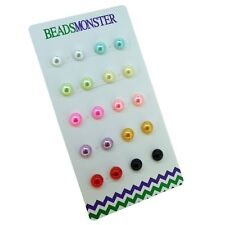 8MM COLOR BEAD FAUX PEARL MAGNETIC CLIP ON STUDS EARRINGS FOR KIDS GIRLS WOMENS