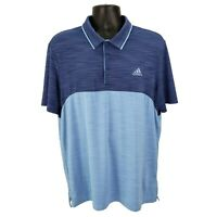 Adidas Golf Climalite Mens Polo Shirt Short Sleeve Size Large L Blue Color Block