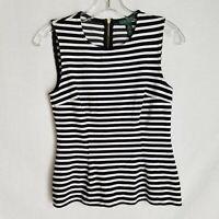 Lauren Ralph Lauren Sleeveless Blouse Striped Black White Stretch Size S SD509P