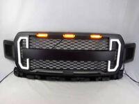 Grille Raptor Style for 2018 2019 Ford F150 F-150 & Amber LED Light DAMON