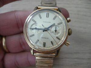 Montre Chronographe mécanique ancienne CEDOR plaqué or LANDERON 149 Bon état