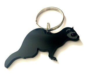 Ferret Keyring Lanyard Keychain Bag Charm In Black With Gift Bag