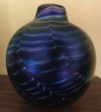 Modernist Studio Glass Iridescent Vase Artist signed 1978