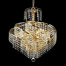 "Palace 6 Light Spiral Crystal Chandelier Ceiling Light Gold 14""x16"""