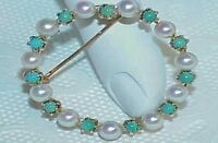 14k Turquoise Pearl Circle O life Brooch Pin Yellow Gold Antique