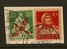 SWITZERLAND : 1919 50c Air overprint + 10c Tell SG 303+279  fine used on piece