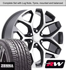 """22 x9"""" Wheels and Tires for Chevy Suburban Replica CK156 Gunmetal Machined Rims"""