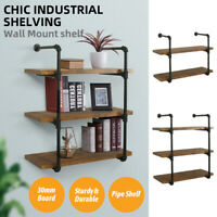 2/3 Tier Wall Industrial Shelf Pipe Shelving Iron Storage Bracket Bookshelf New