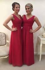Chiffon Bridesmaid Dress A-line Maxi Beach Prom Ballgown Vneck Long Plus SizeLOT