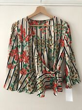 ZARA Striped Floral Print Wrap Crossover V-neck Blouse Kimono Top With Ruffle XS