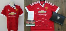 2015-16 Man Utd FA Cup Winners Home Shirt Squad Signed Official COA, Case & Map