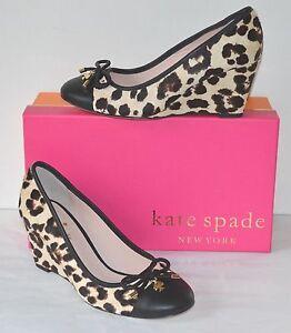 New $238 kate spade Kacey Blush/Brown Leopard Haircalf Print Wedge Pump