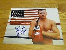 THE FIGHTER Boxer MICKY WARD signed 8x10 Photo with Flag #2 COA