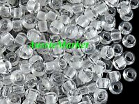 100 x pony clear beads acrylic plastic large big hole 9mm x 6mm kids hair crafts