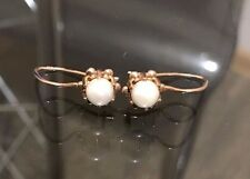 Russian Vintage USSR Rose Gold Pearl Earring with 14 K 583 USSR Soviet Jewelry