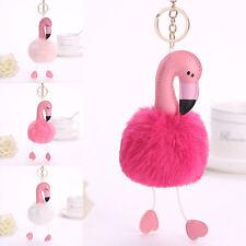 Fashion Flamingo  Keychain Keyring Handbag Fur Bag Charm Pendant Girl Gift