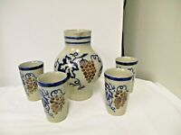 5-pc Goebel W Germany Merkelbach Stoneware Grape Wine Set-Signed Pitcher-4 Glass