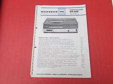 Telefunken VR 400 Videorecorder org. Service Anleitung Manual