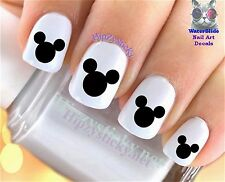 """RTG Set#630 IMAGE """"Mickey Mouse Ears Black"""" WaterSlide Decals Nail Art Transfers"""