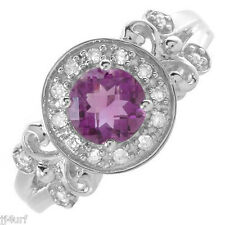 Beautiful Amethyst and Diamond Gemstone Ring With 0.90ctw, in 10k White Gold, S7