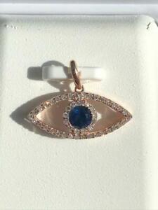 14k Rose Gold Genuine White Diamonds Sapphire 0.75ct tw G-VS1 Evil Eye Pendant