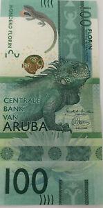2019 ARUBA NEW ANIMAL KINGDOM 100 FLORIN AU BANKNOTE  With Light Center Fold